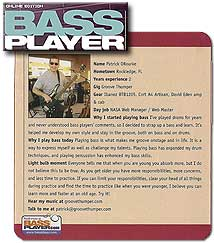 Patrick ORourke / GrooveThumper in Bass Player Publication